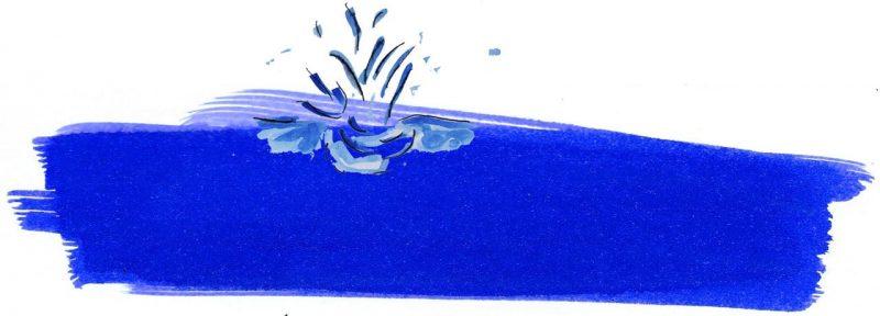 Illustratie door Jantien Baas: De koe die in het water viel – Peter Spier