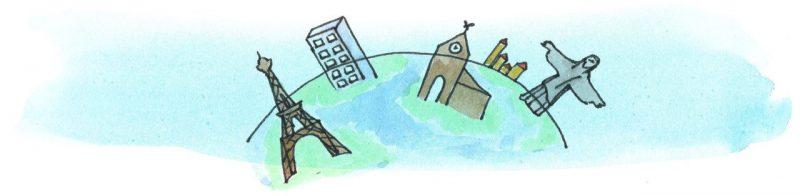 Illustratie door Jantien Baas: Een wereld vol steden – James Brown & Lily Murray