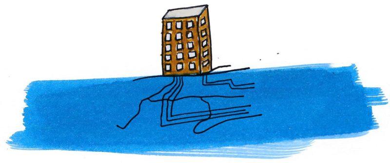 Illustratie door Jantien Baas: Onder water / Onder de grond – Aleksandra Mizielinska & Daniel Mizielinski