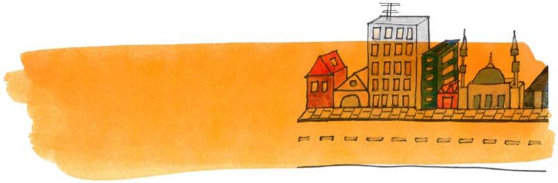 Illustratie door Jantien Baas: Ontdek je stad – Martine Sluijter & Maartje Kuiper