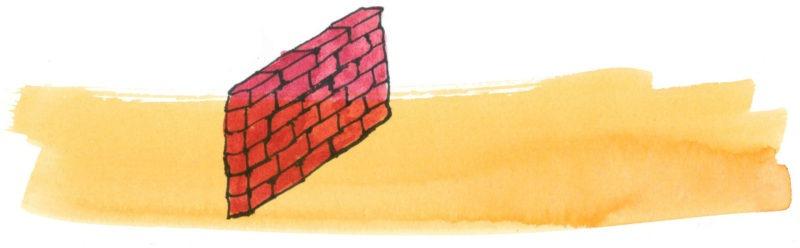 Illustratie door Jantien Baas: De muur in het midden van het boek – Jon Agee