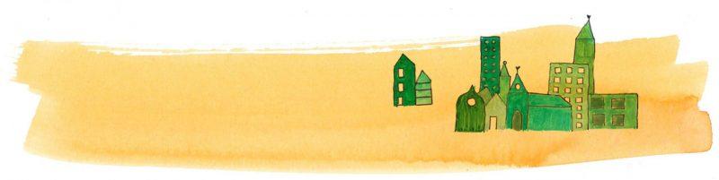 Illustratie door Jantien Baas: Waar mijn vrienden wonen – Claudio Thebas & Violeta Lopiz